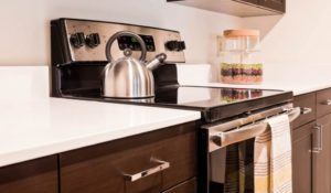 Apartment oven and countertops at Sharples Works in West Chester, PA