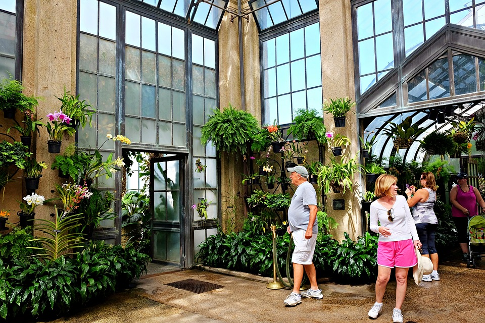several people inside the Longwood Gardens conservatory in Kennett Square, PA