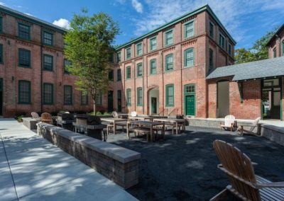 Outdoor beer garden and courtyard at Sharples Works apartments in West Chester, PA