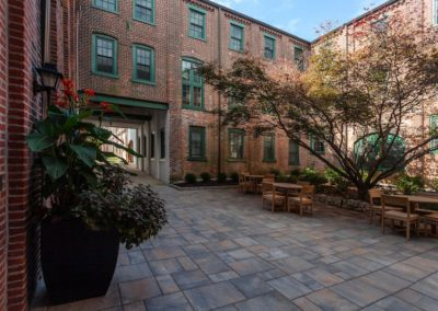 Courtyard seating at Sharples Works apartments in West Chester, PA