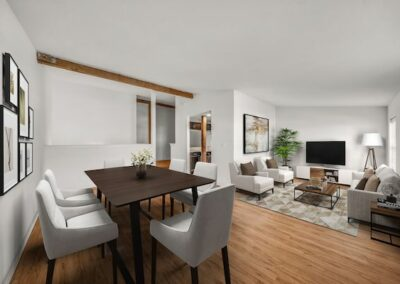 Furnished open floor plan apartment with dining room and living room at Sharples Works in West Chester, PA.